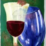 Gläser mit Weinlaub