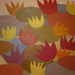 Seerosen abstrakt (Acryl auf Leinwand) 40x40