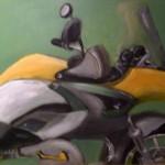 Motorrad abstrah.(Acryl auf Holz)